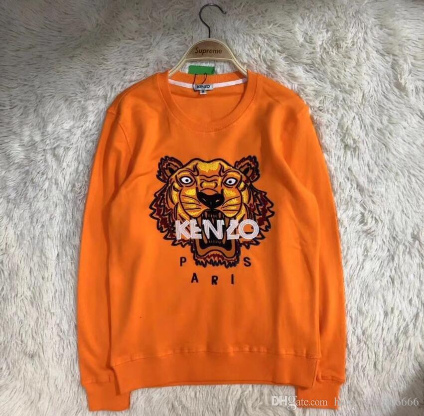 أورانج مطرز رئيس النمر الرجال هوديس 2020 الربيع الخريف ذكر عارضة هوديس بلوزات للرجال الصلبة القمم اللون هوديس البلوز