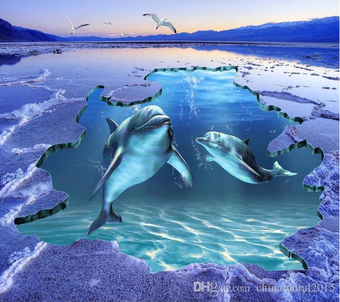 3D Mural del suelo Ocean World Dolphin 3D Pisos al aire libre Impermeable Autoadhesivo Vinilo Wallpaper Moderno Salón Etiqueta de baño