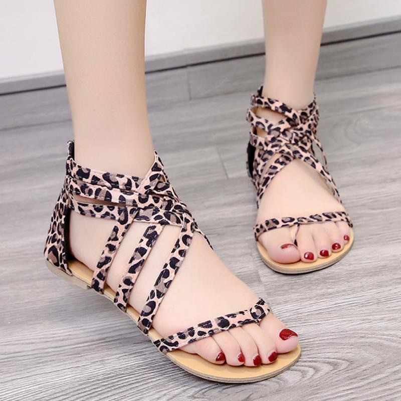 Las mujeres sandalias del estampado leopardo postales Calzado de verano las mujeres de gran tamaño ándalos Europa y el pin plana Estados Unidos sandalias # h4