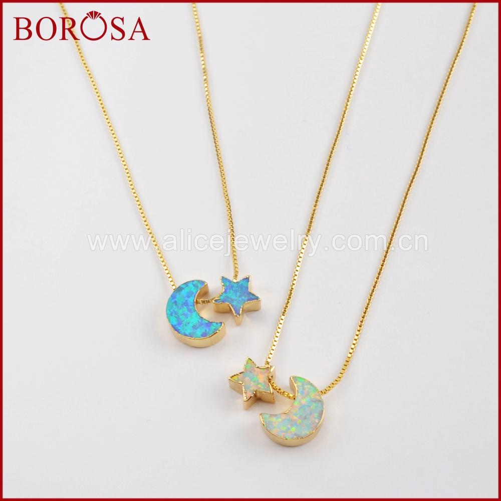 wholesale New Arrivals! 5PCS 17inch Crescent & Star Gold Color Gems Man-made Opal Pendant Beads Necklace Jewelry for Women G1573