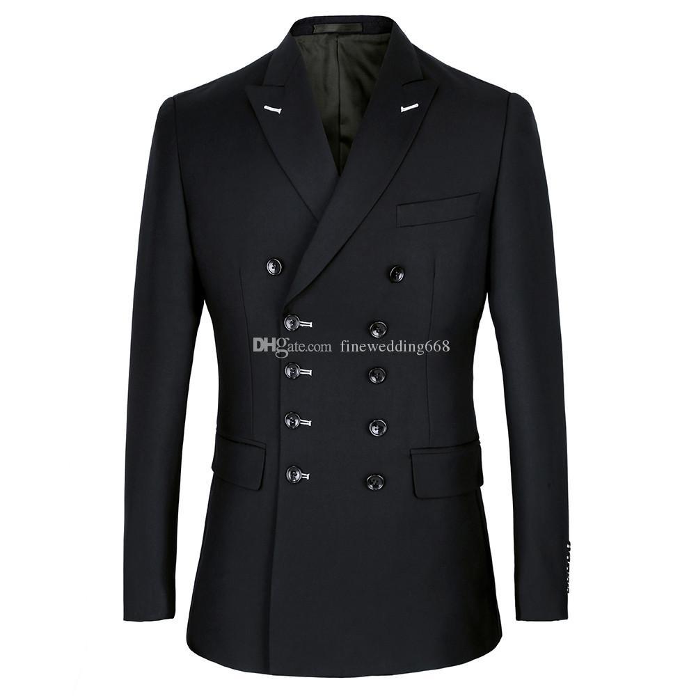 Handsome Double-Breasted Groomsmen Peak Lapel Groom Tuxedos Men Suits Wedding/Prom/Dinner Best Man Blazer(Jacket+Pants+Tie) B165