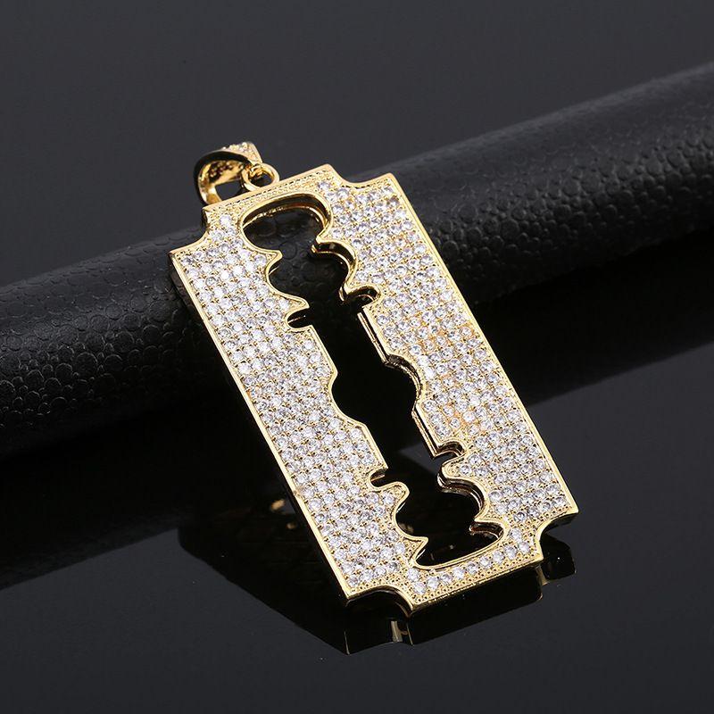 Jewelry Hip-hop Barber Tool Micro Zirconium Stone Knife Piece Necklace Zirconium Shi Man Pendeloque Cut