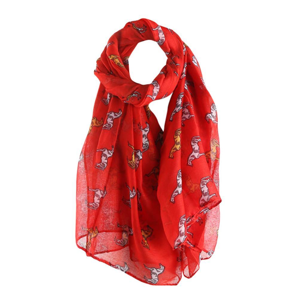 Retro capo Sciarpa al collo raso di seta Vintage autunno sottile sciarpa degli scialli lunghi Animal Donne Elegante Stampato Warm Wrap scialle