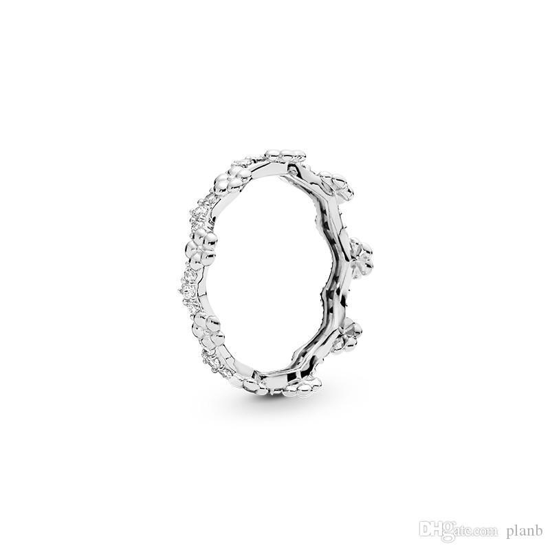 NOUVEAU Flower Crown Boîte de bague originale pour Pandora 925 hommes en argent sterling femmes cadeau de mariage CZ Diamond Rings Sets