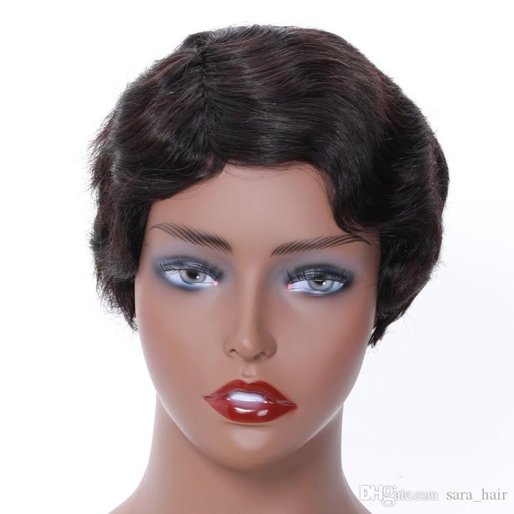 Femme Sara Afro Courte Frisée Vague Perruques 100% Vrais Cheveux Humains Sans Colle Full Lace Wig Hairpieces