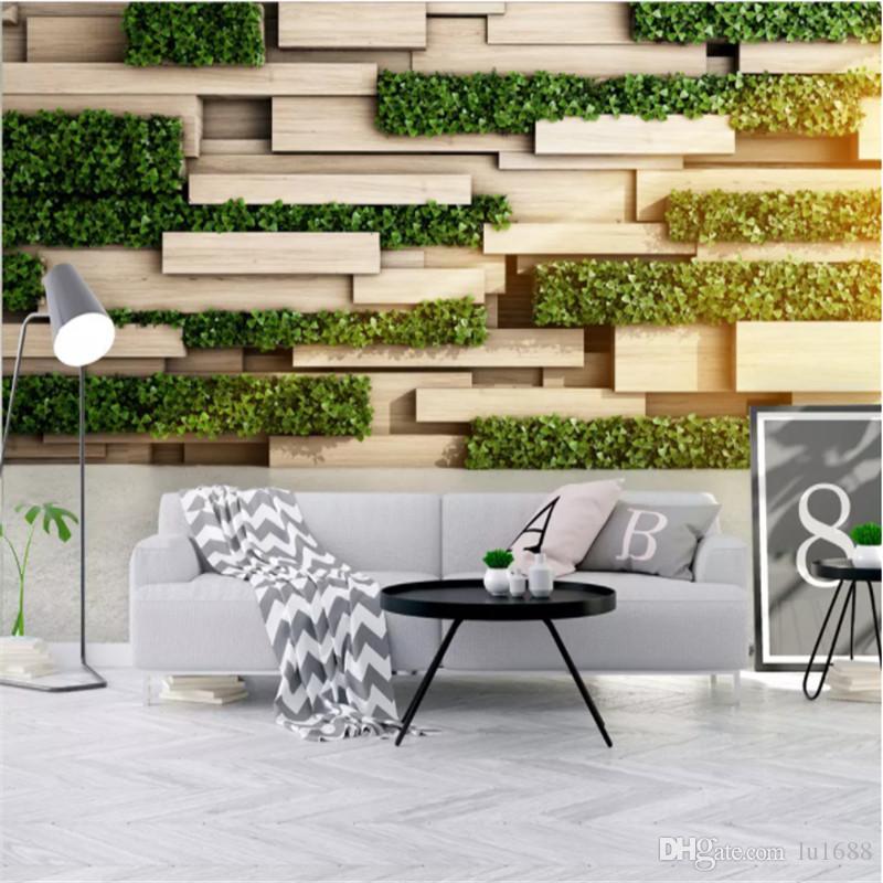 Carta da parati personalizzata murale 3D stereo nordic tavola di legno verde foto sfondi per soggiorno camera da letto TV sfondo muro di carte decorazioni per la casa