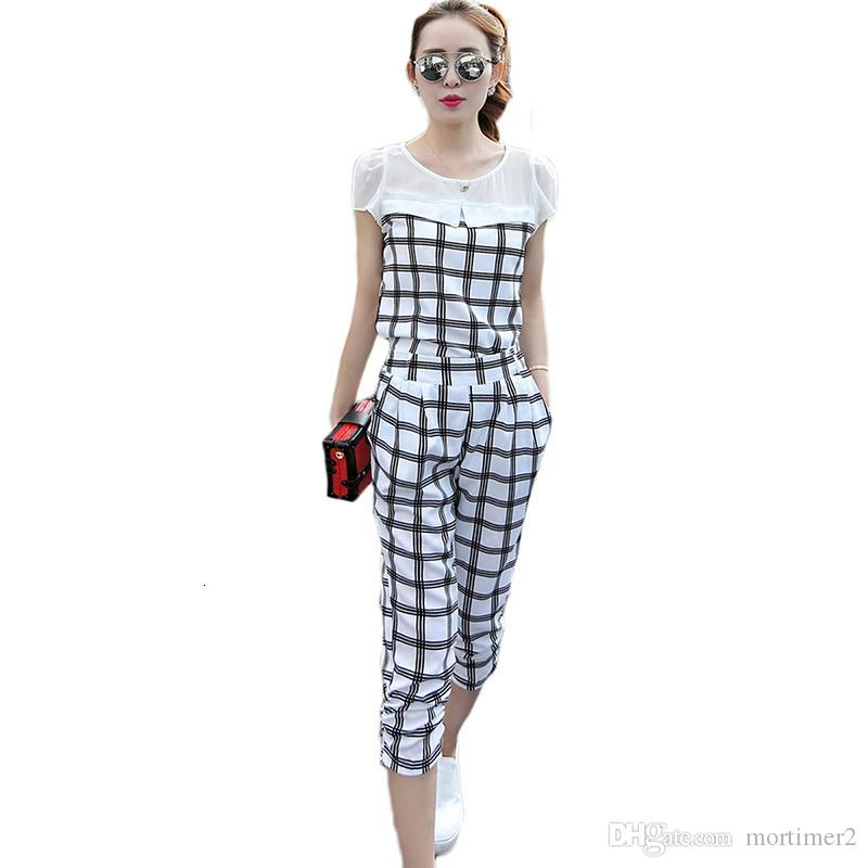 Casual Two Piece Set Summer Tracksuit Women Plaid Short sleeve Top And Pants 2019 New Fashion Korean Sweat Two pieces Suits