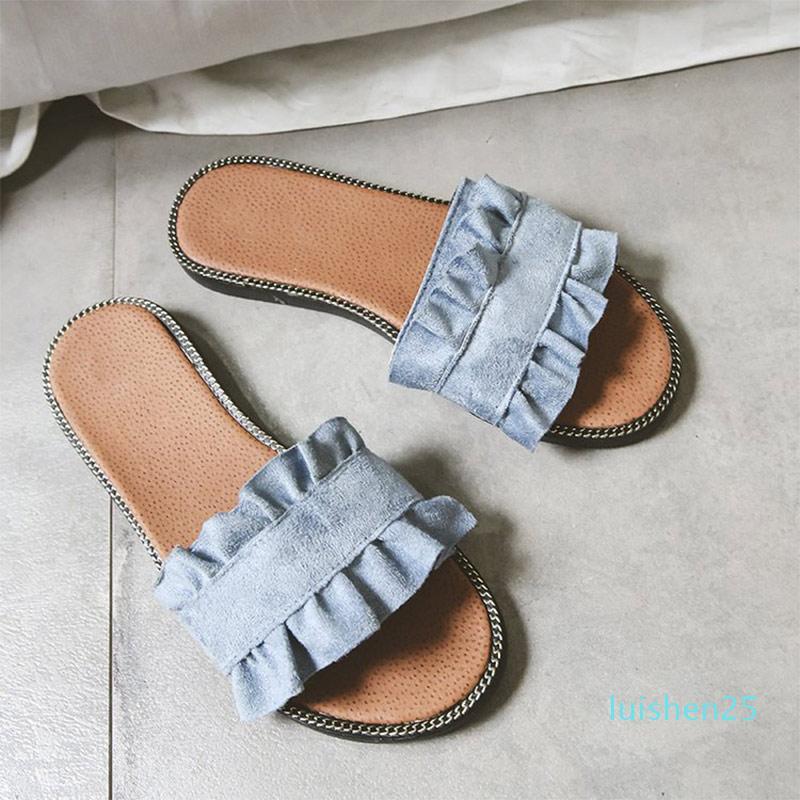 scarpe da donna estiva all'aperto nuovi pistoni che femminili open toe colore solido scarpe basse dolce donne comode di moda fondo