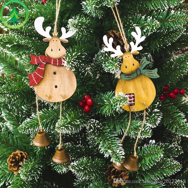De noël En Bois Elk Hanger Pendentif Décorations De Noël Suspendus Ornement Placard Porte Fenêtre Décoration De Noël Cadeau Livraison gratuite