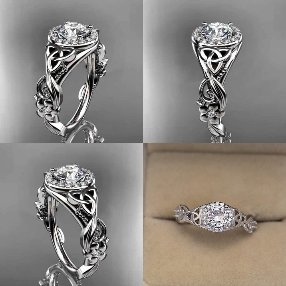 925 클래식 드릴 그레이스 웨딩 여성을위한 반지 진주 스털링 실버 밴드 반지 골드를 설정합니다