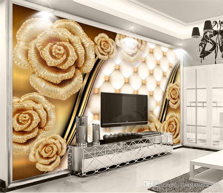 사용자 정의 사진 벽화 3d 럭셔리 골드 장미 소프트 가방 주얼리 TV 벽 배경 화면 거실 벽 종이