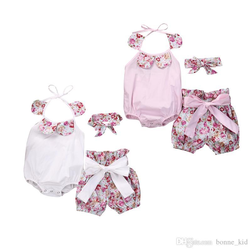 여름 아기 소녀 솔리드 Rompers 꽃 반바지 머리띠 3pcs 복장 Sunsuit Jumpsuituits 아기 의류 아동 의류 0-24M