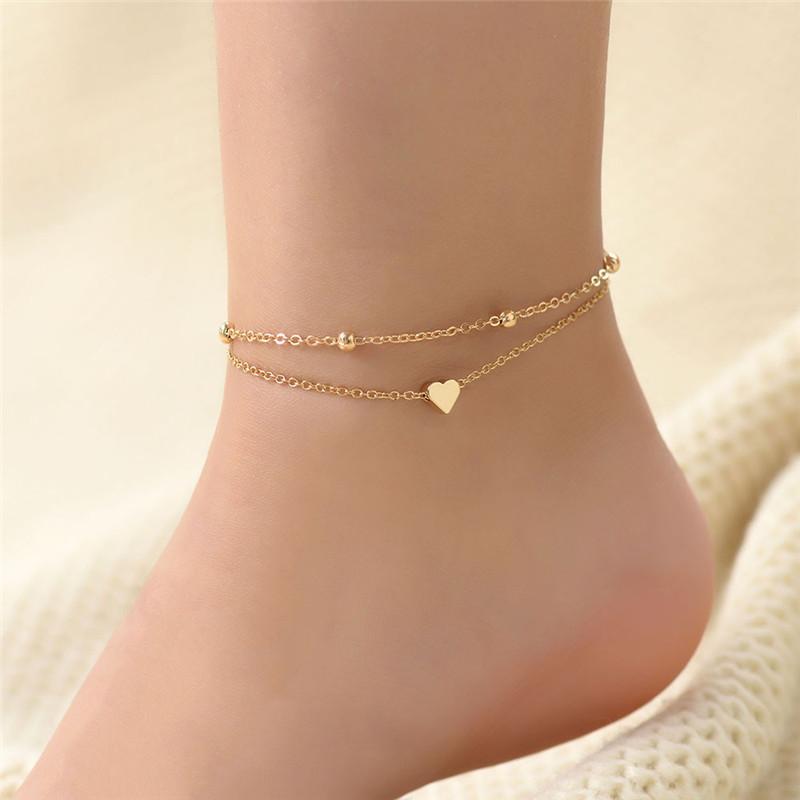 Nueva pulsera de las mujeres de la muchacha del multicolor de la vendimia para el tobillo de plata Oro Capa cadena de la joyería para el tobillo verano de Boho Barefoot Tobillera