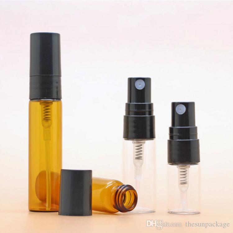 5 ml 3 ml 2 ml Mehrwegflasche Mini leeres Glas Spray Parfümzerstäuber Flaschen Bernstein Klar Mit Schwarz Pump