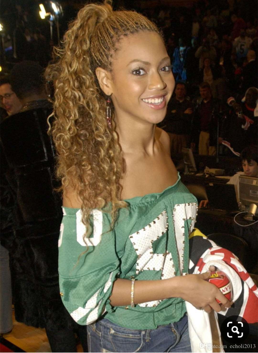 Beyonce coda di cavallo bionda Miele riccio crespo della coda di cavallino di estensione di alta qualità dei capelli umani Coda di cavallo stretta Wrap Around Capelli Coda di cavallo