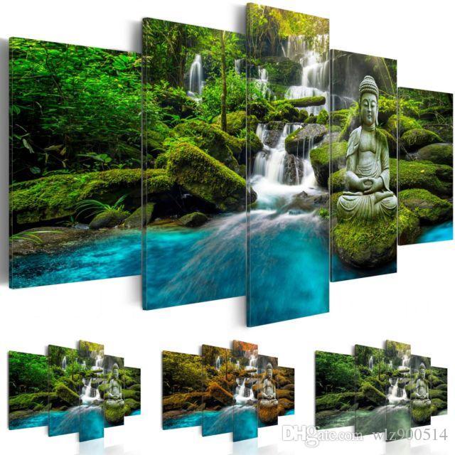 Sıcak Satmak (No Frame) Tuval Baskı Modern Moda Duvar Sanatı Peyzaj Şelale Buda Ev Dekorasyon için Renk Seçin renk