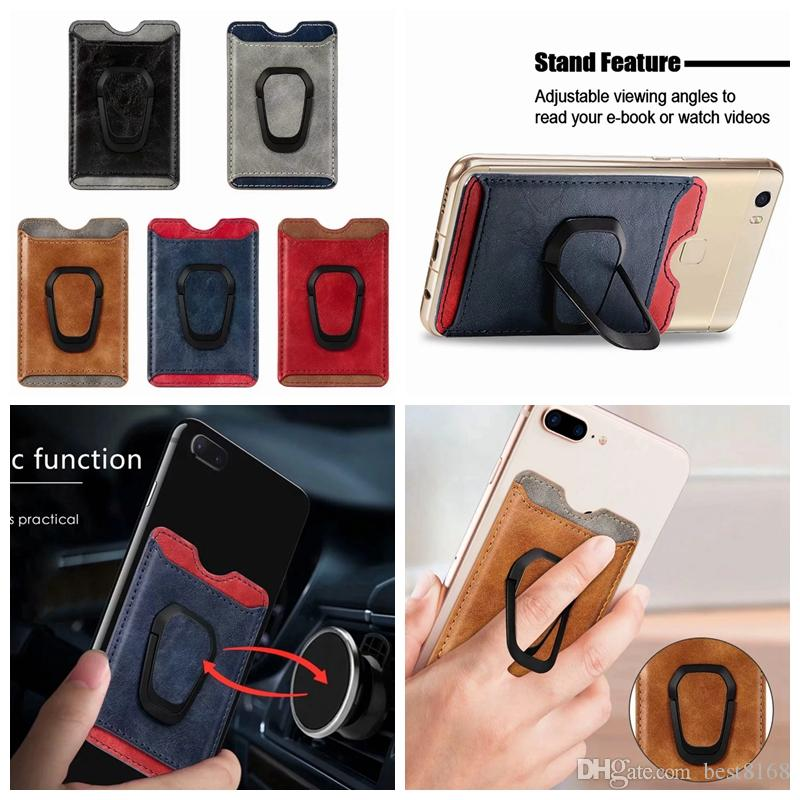 Universal Voltar Phone Card slot 3M etiqueta de couro Em Carteira ID Car Credit Magnet Holder ventosas para iPhone 11 XS XR X Nota 10 9 S10 Caso