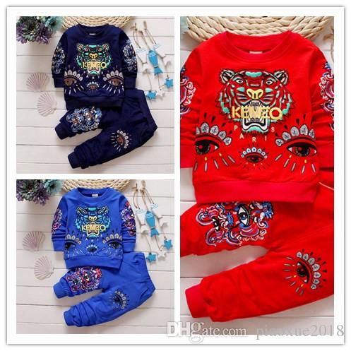 Moda per bambini Cartone animato tigre new fashion boy girl maglione girocollo manica lunga baby vestiti boy set 24M-4T