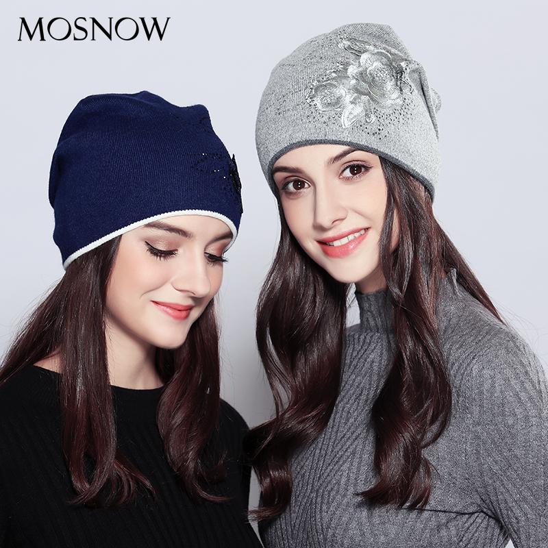 MOSNOW Hats For Girls Wool Female Vogue 2018New Flower Rhinestones Fashion Winter Knitted Women's Hats Skullies Beanies #MZ719 S18120302