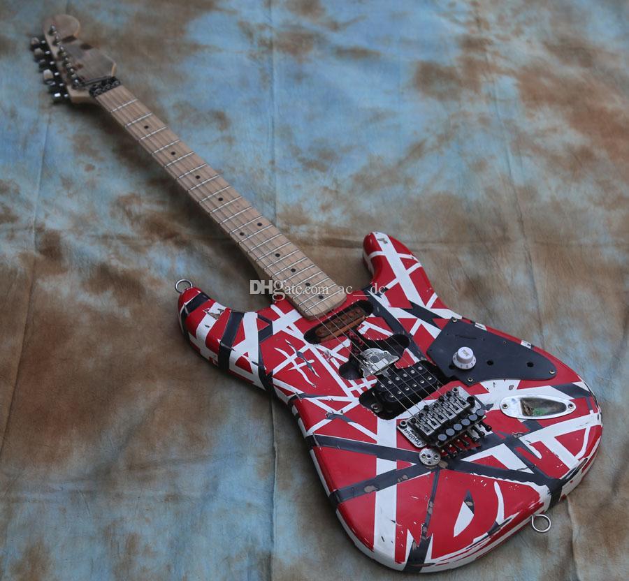 متجر مخصص Masterbuilt Eddie Van Halen Frankenstein Heavy Relic Red ST Guitar Guitar، Floyd Rose Tremolo، Pickups Bare، Tuners