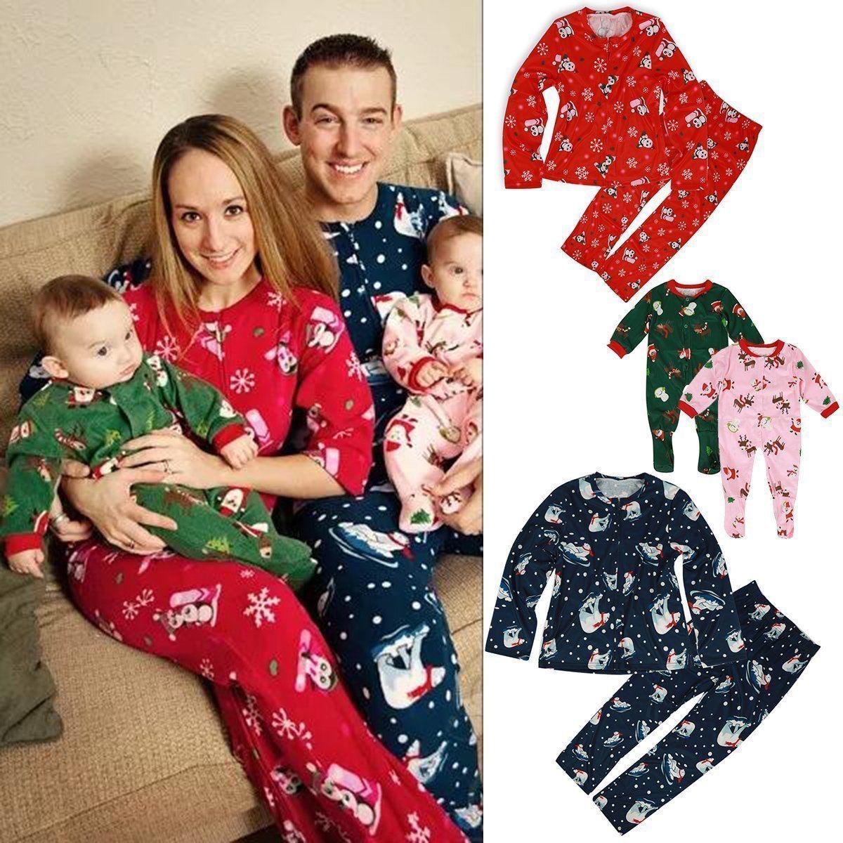 Corrispondenza Family Christmas Pajamas Set Mens delle donne del bambino dei capretti Deer stampa cotone casuali 2pcs degli indumenti da notte copre gli insiemi