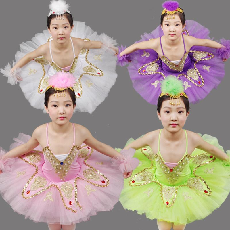 Pink/Purple/White/Green Girl Ballet Tutu Dress Swan Lake Ballet Costume Ballerina Clothes Children Dance Dressrs F Girls