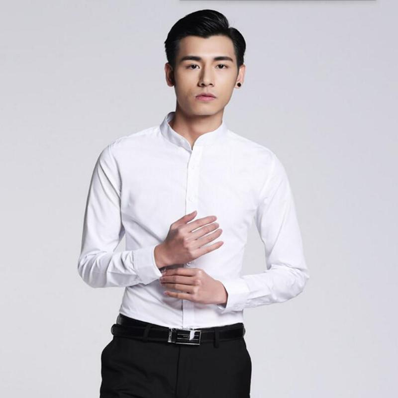 Newest style men shirt simple fashion groom shirt prom white tailor made mandarin collar formal long sleeve