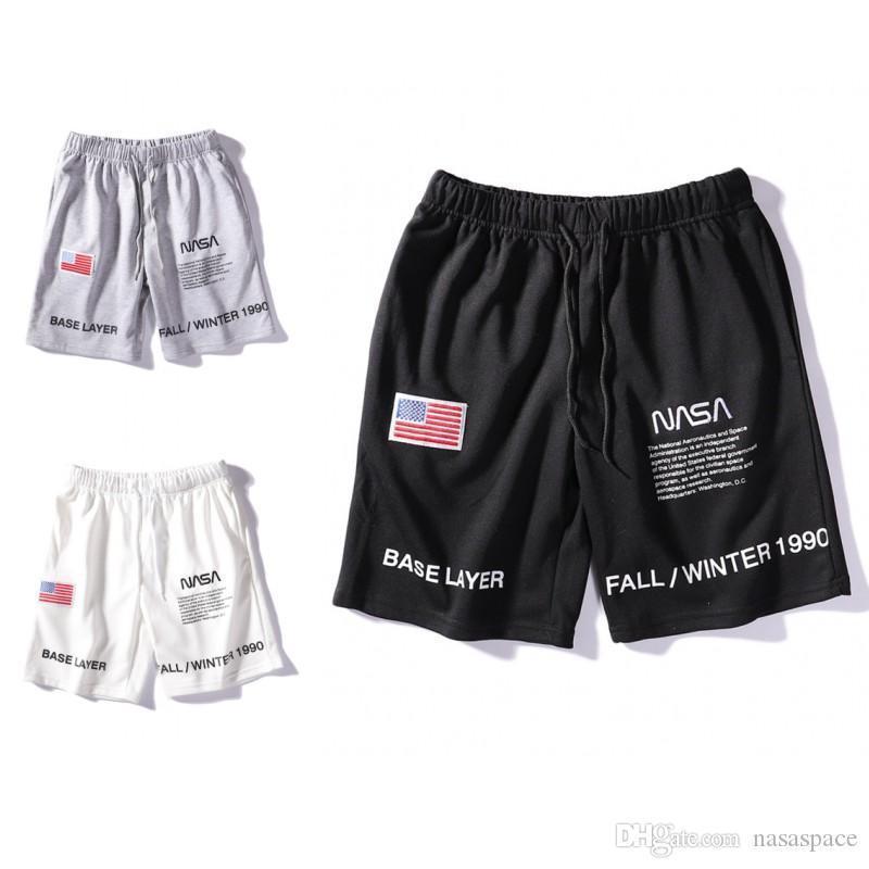 NASA Shorts Mens Short Letter Embroidery Drawstring Summer Designer Pants Men Women Black White Grey Trend Sweatpants Size M-2XL