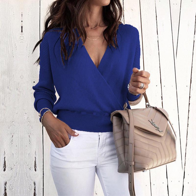 Lambrissé Femmes Fashion Business Vêtements printemps col en V Pure Color Femmes Pulls manches longues