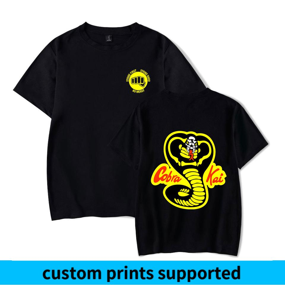2018 Summer Cool Popular Cobra Kai camiseta Hombres / Mujeres Manga corta Camiseta divertida Diseño clásico Tops Camisetas Cobra Kai Ropa personalizada