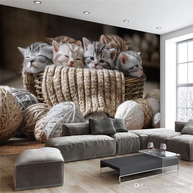 Personalizado papel de parede 3D bonito gatos Pequenas TV Sofá papel de parede sala de estar quarto de hotel galeria mural decoração papel de parede