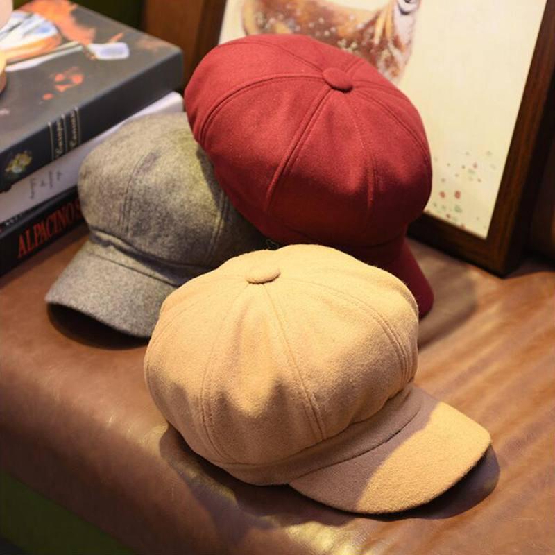 Lady Sonbahar Kış Bereliler Sekizgen Şapka Kadınlar Yün Vintage Bereliler Katı Renk Kadın Sıcak Siyah Gri Bere Kadın Caps Şapka