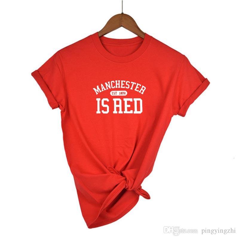 4MANCHESTER EST è AED lettere delle donne della stampa maglietta del cotone casuale della maglietta divertente per la signora Girl Top Tee Hipster Tumblr goccia Ship003