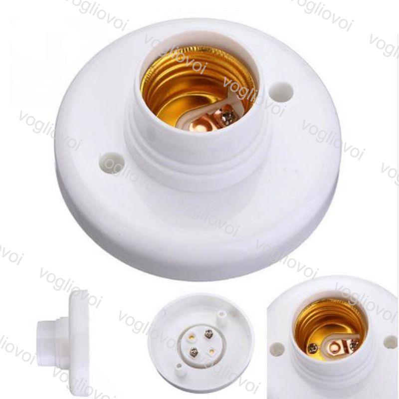 Bases da lâmpada E27 Titular Soquete Redondo Branco Abs Iluminação Acessórios Flame Retardant PBT Adaptador Conversor DHL