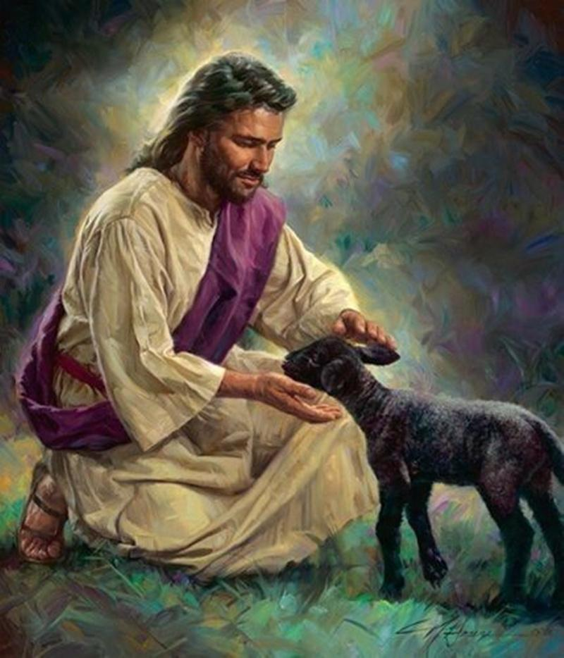 Nathan Greene Art GENTLE SHEPHERD Jesus Welcoming Black Lamb Home Decor Handcrafts /HD Print Oil Painting On Canvas Wall Art Picture 200705
