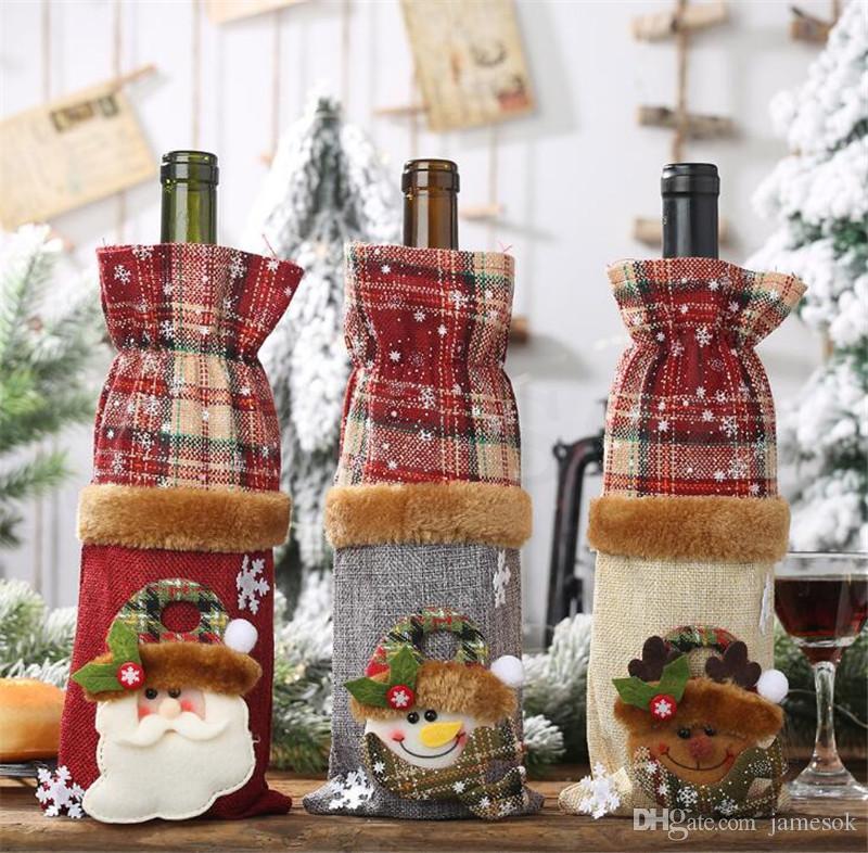 Dama Stil Keten Şarap Şişesi Dekorasyon Kırmızı Şarap Şampanya Şişe Çantası Noel Dekorasyon Noel Masa Dekorasyon DC893