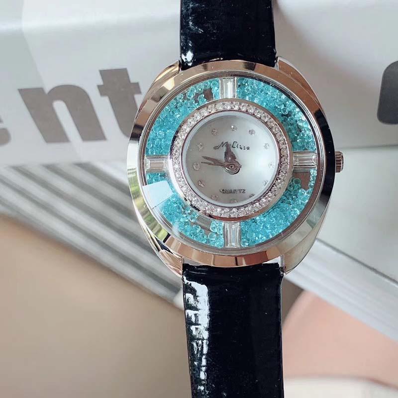 New Womens relógio de luxo movimento de quartzo de luxo estilo clássico cinta caso de couro de aço inoxidável profunda impermeável limitado com a caixa 52