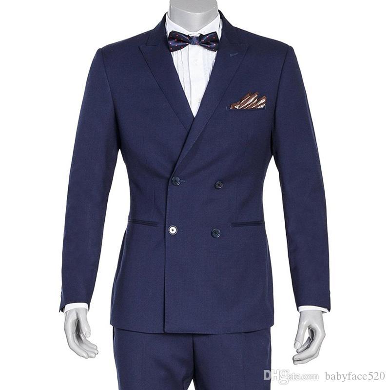 Marine-Blau-Geschäfts-Party-Bräutigam-Smoking Mann-Klagen zweireihiger Zweiteilige Jacke Hosen spitzen Revers nach Maß Hochzeits-Bräutigam-Smoking