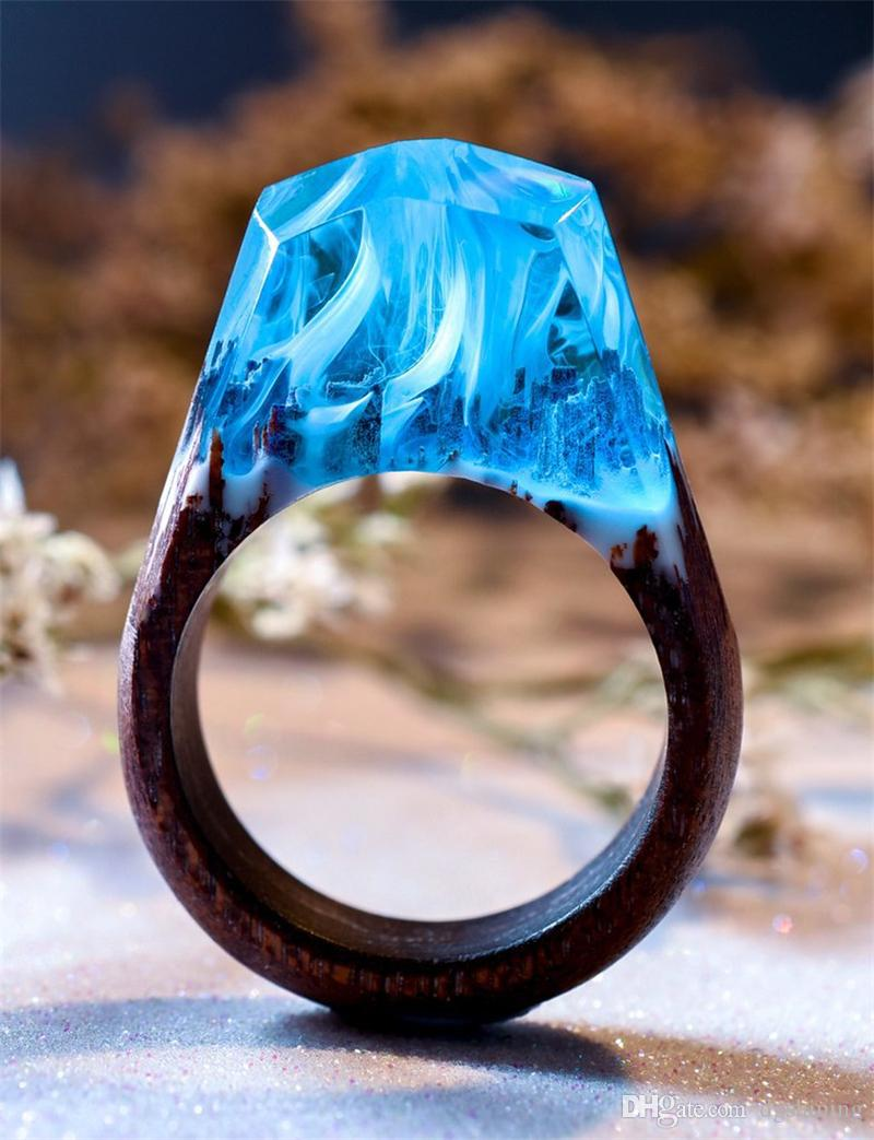 Madeira Anel Resina Folk-personalizado moda jóias verdes azuis anéis brancos para o encanto Anel Jóias DIY anéis 24 Styles acoplam as mulheres Mulheres