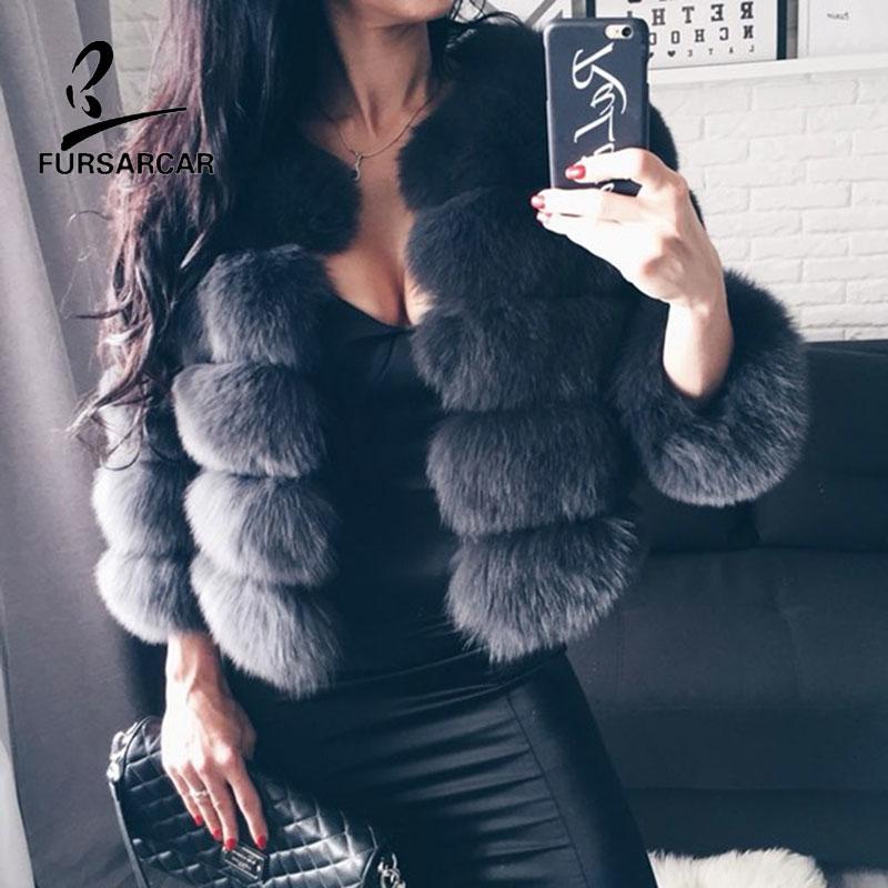 FURSARCAR 2019 Moda Koyu Gri Coat Kısa Gerçek Kürk Kadınlar Doğal Fox Kürk Palto Kış Dokuz Çeyrek Kollu Sıcak ClothingMX191009