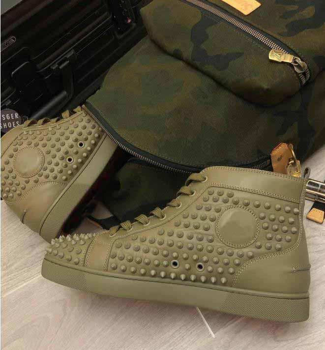 Calçados masculinos lazer luxo parte inferior vermelha completa cravado Sneakers Exército Verde Couro Originals Spikes qualityâ Super desconto design Fr