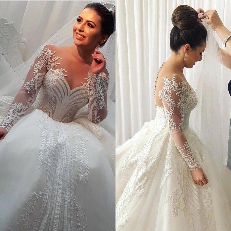 2020 nuovi abiti da sposa a maniche lunghe collo nudo appliques perline di tulle abiti da sposa eleganti bottoni abito da ballo indietro abito da sposa plus size