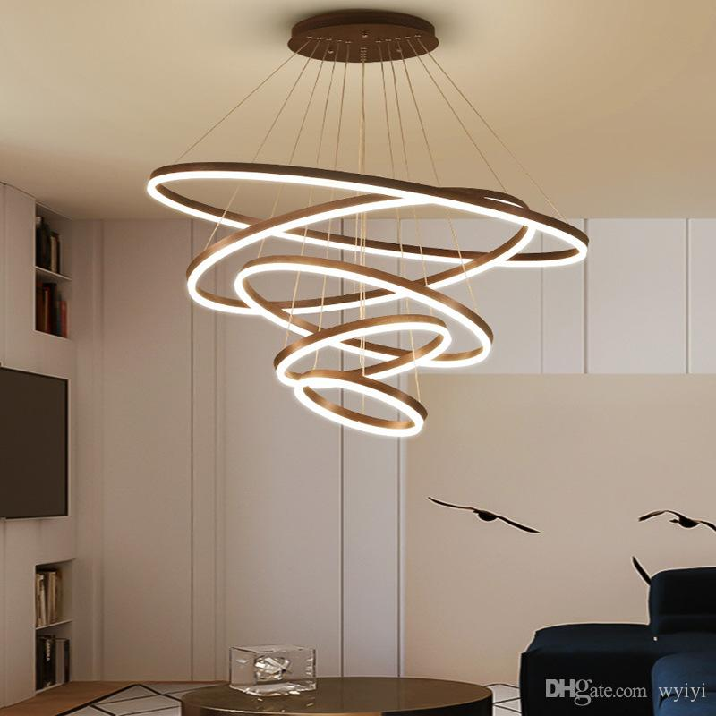 Modern LED Circle Pendant Lights For Living Room Indoor Home Hanging Lamps Fixture With Remote Restaurant Dining Decor Luminaire AC 90-265V