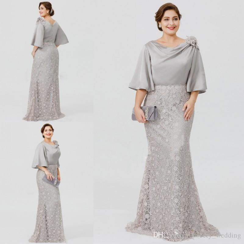 2019 New Silver Elegant Mother Of The Bride Dresses Half Sleeve Lace  Mermaid Wedding Guest Dress Plus Size Formal Evening Gowns Groom Mother  Dress ...