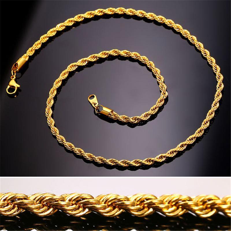 Erkekler Kadınlar Için 18 K Altın Kaplama zincirler 3 MM Paslanmaz Çelik Twisted Halat Gerdanlık kolye Hip Hop Moda Takı Toplu