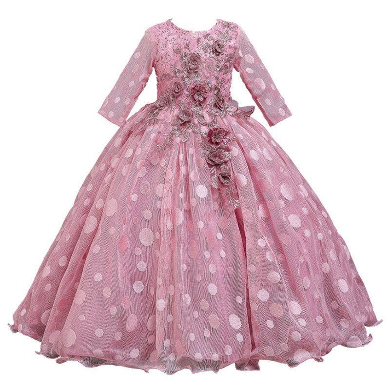 Neue Jahr-Kleid-Mädchen-Partei-Hochzeit Spitze-Stickerei-Prinzessin Kleider für Mädchen lange formalen Abschlussball-Kleid-Mädchen-Kostüm T200624