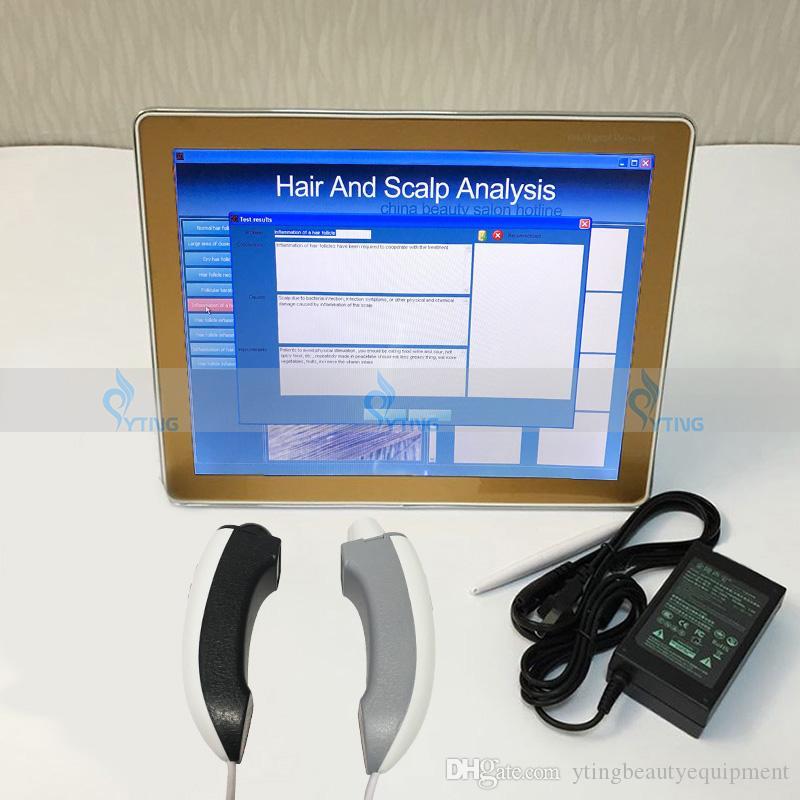 2in1 휴대용 피부 분석기 기계 머리 피부 분석 미용실 아이 페이셜 장비 스킨 스캐너 분석기 UV 조명