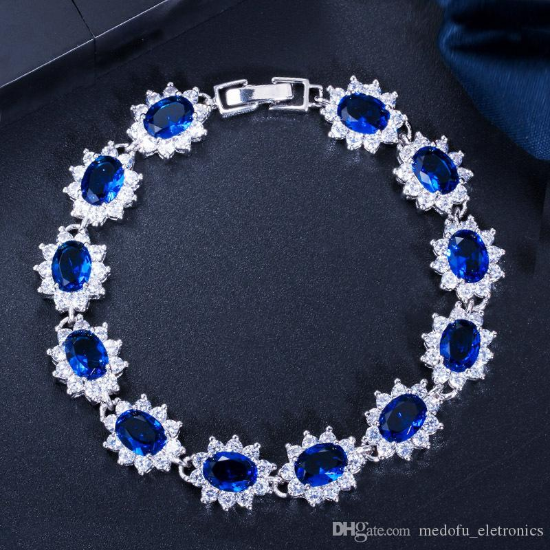 8 Colors for Options Women Fancy Bracelets Jewelry White Gold Plated CZ Bracelet for Girls Women Nice Gift