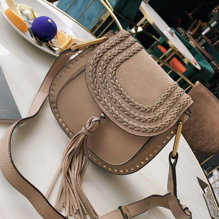 sacs Designer-Designer Cowskin sac en cuir Tassel Sac Rivet Marcie Sac crossbody Sacs à bandoulière