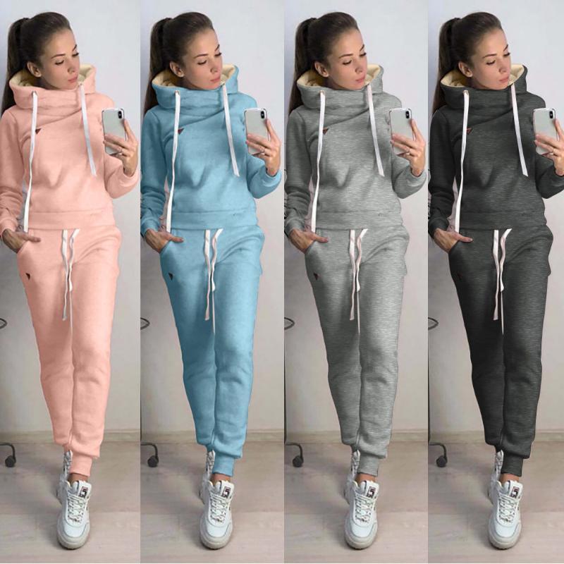 2020 mujeres calientes chándal Conjuntos de mujeres de la manera ocasional de la manga de colores sólidos con capucha larga Sport Tops + Long Pants Set de dos piezas